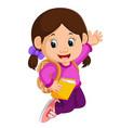 cute girl go to school cartoon vector image