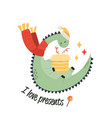 cute holiday dinosaur in scarf and hat text i vector image vector image