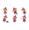 cute little witch cartoon character collection vector image vector image