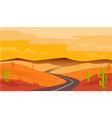 desert road cactus sandstone landscape vector image vector image