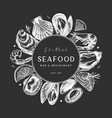 frame with hand drawn seafood - fresh fish oyster vector image vector image