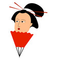 geisha with tied hair on white background vector image vector image