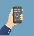 hand holding smartphone with online doctor app vector image vector image