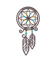 handmade wicker dreamcatcher with feathers and vector image