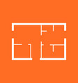 house plan simple flat icon on orange background vector image vector image