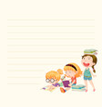 line paper template with girls reading books vector image vector image