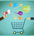 man with a shopping cart discounts promotions vector image