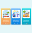 mobile posts cartoon cards summer travel flat set vector image