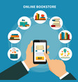online book store composition vector image vector image