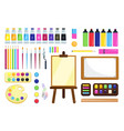 painting tools creative materials for workshop vector image