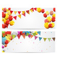 party background baner with flags and balloons vector image vector image