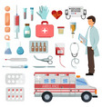 pharmacy doctor character on ambulance car vector image