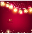 Red Christmas background with luminous garland