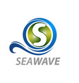 sea wave initial letter s logo concept design vector image vector image