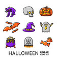 set of linear halloween icons vector image