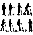 Set of silhouettes of children riding on scooters vector image vector image