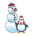 snowman and penguin cartoon vector image