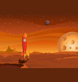 spaceship-on-martian-landscape vector image vector image