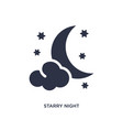 starry night icon on white background simple vector image vector image