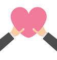two businessman hands arms holding pink heart vector image vector image