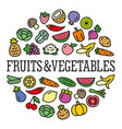 vegetables and fruits icons in a circular shape vector image