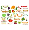 Vegetables vegetarian emblems ribbons set