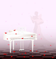 white piano and red petals vector image vector image
