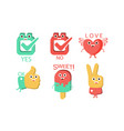 words and cute cartoon characters with funny faces vector image vector image