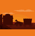 western village silhouette vector image