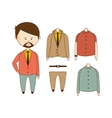 MAn With Beard Wardrobe Set vector image