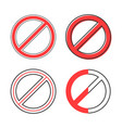 set of red prohibition sign vector image