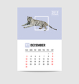2017 december calendar tiger polygon vector image vector image