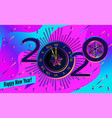 abstract banner 2020 happy new year clock on vector image