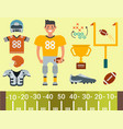 american football player and sport game icons vector image