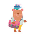 back to school bear with bag and books on head vector image vector image