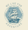 banner with a sailboat on sea waves vector image