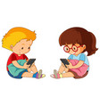 boy and girl playing mobile phone vector image