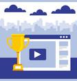 business website video trophy success vector image vector image