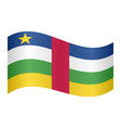 central african republic flag wavy white backdrop vector image