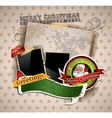christmas vintage scrapbook composition vector image vector image