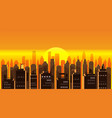 cityscape sunset modern city skyline panoramic vector image vector image