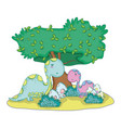 cute apatosaurus couple with tree in the landscape vector image