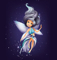 cute colorful fairy character with magic wand and vector image