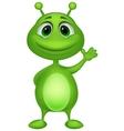 Cute green alien cartoon vector image vector image