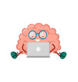 cute happy smiling brain sitting vector image vector image