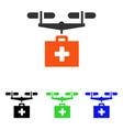 drug drone delivery flat icon vector image vector image