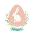 easter greeting card with egg floral wreath vector image vector image