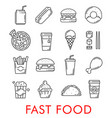 fast food restaurant thin line icons vector image