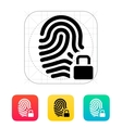 Fingerprint and thumbprint with lock icon vector image vector image