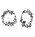 floral wreath black and white ficus eucalyptus vector image vector image